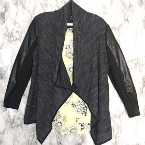 Amanda Green Faux Leather Sleeve Shawl Cardigan